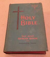 Vintage 1963 Holy Bible Saint Joseph Textbook Edition Confraternity Catholic HC