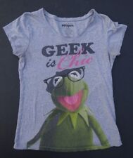 The Muppets GEEK IS CHIC T-Shirt LARGE KERMIT Juniors 11-13  Women V Neck Gray