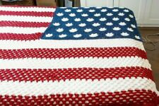 Hand Crocheted American Flag Afghan 46 Star Oklahoma Patriotic Red White Blue