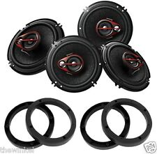 "Pioneer TS-R1651D 250W 6"" Shallow Mount 3-Way Car Speaker (Pack of 4) w/ Spacers"