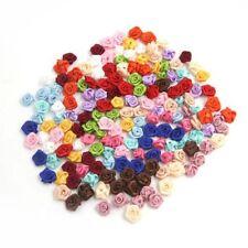 100PCS/Lot Mini Handmade Satin Rose Ribbon Rosettes Fabric Flower Appliques Z6G4