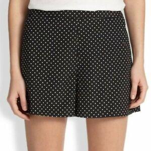 TORY BURCH Tilda Shorts Mini Polka Dot Print Stretch Silk Black White $195 Sz 8