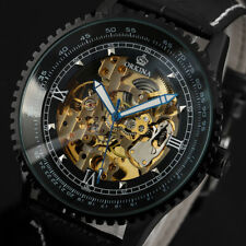 Mens Watch Mechancial Black Leather Strap Self-winding Gear Design Analog Luxury