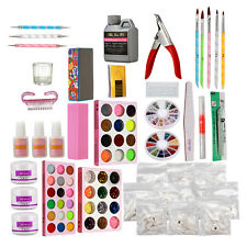 Acrylic Powder Liquid Nail Art Full Kit Glitter Uv Gel Glue Tips Brush Sets Kits