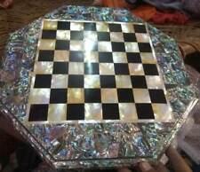 "15"" marble chess table top center inlay random malachite room decor A105"
