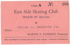 Original 1936 East Side Skating Club season Ticket, Providence R. I. Rare Item