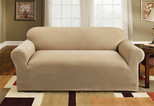 Sure Fit Pique 1pc Love Seat Slipcover Box Seat Cushion in Cream