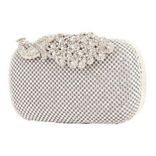 Women/'s Bling Rhinestone Diamond Clutch Handbag Purse Wallet SILVER #EB1032SCL