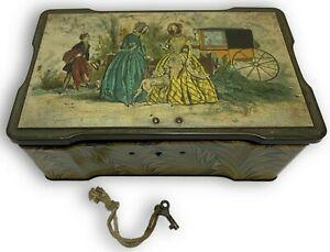 Vintage Clarnico sweet tin with original key