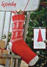 KNITTING PATTERN Fairisle Christmas Stocking and Felted Gnome Aran 5753 Wendy