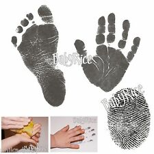 Newborn New Baby Handprint Footprint Kit Black Inkless Wipe Easy Prints Pet Paws