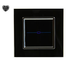 GLASS TOUCH LIGHT DIMMER SWITCH BLACK GLASS NEW & BOXED, 1 GANG