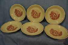 Wood & Son Grenville Enoch Pink Village Scene Lot of 9 Saucers 6""