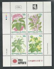 MARSHALL ISLANDS # 398a MNH FLOWERS, PHILA NIPPON '91 (Miniature Sheet)