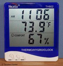 Digital Indoor Temperature Humidity RH Meter Hygrometer Thermometer Clock TH802