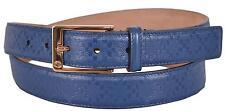 New Gucci Men's 345658 Cove Blue Diamante Leather Belt 40 100