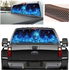 Flaming Skull Rear Window Tint Graphic Decal Wrap Back Truck Tailgate Waterproof