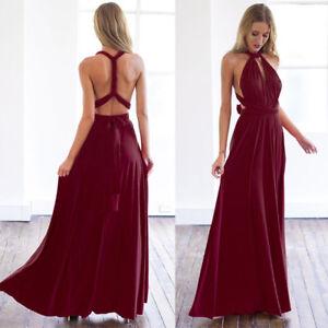 Women's Evening Dress Convertible Multi Way Wrap Bridesmaid Formal Long Dress UK