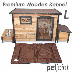 Large Wooden Pet Dog Kennel House Flat Roof Timber Wood Big Outdoor 116x79x82cm