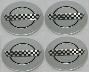 4 CAP DEAL SILVER / CHECKERED CHEVY CORVETTE ZR1 C4 CAMARO WHEEL RIM CENTER CAPS