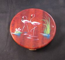 Vintage large round Fifth Avenue Rex compact with flamingos Art Deco