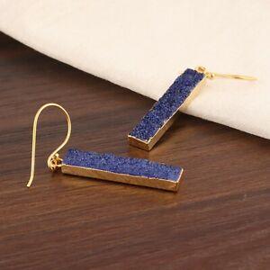Bar Shape Natural Blue Geode Druzy Yellow Gold Plated Drop Dangle Hook Earrings