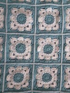 crochet baby / knee blanket -  cream and teal