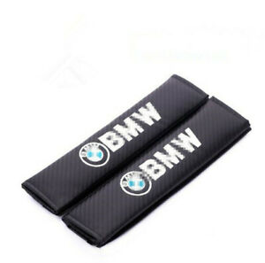 2PCS Car Auto Carbon Fiber Seat Belt Cover Cushion Pads Embroidered Logo for BMW
