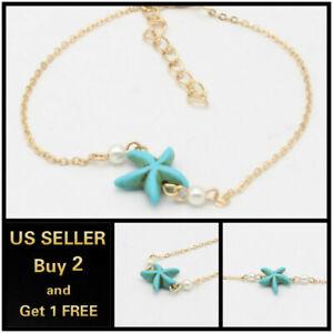 Boho Blue Starfish Beach Gold Anklet Ankle Bracelet Foot Chain