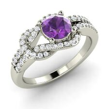 Natural Amethyst and SI1 Diamond Infinity Knot Engagement Ring in 14k White Gold