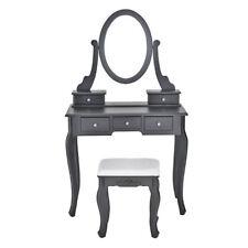 Bedroom Wooden Relief Dressing Table Mirror Makeup Dresser Desk 5 Drawers +Stool