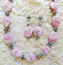 """PINK FLAT OVAL RHODOCHROSITE BEAD, SILVER PLATE necklace, earrings 21"""""""