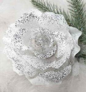 10cm clip on 1 CHRISTMAS TREE ROSE DECORATION white & silver sparkle silk / foam