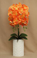 ARTIFICIAL 2 STEMS LARGE ORANGE MOTH ORCHIDS IN WHITE OVAL RIB CERAMIC POT