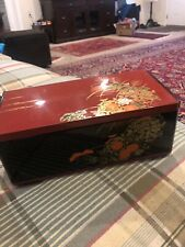 Asian ~Tissue Box Holder & Mirror On Lid Asian Floral Black Red Vintage 70s-80s