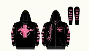 Hoodie Ladies Pink Multi-Logo Screen Printed Sweatshirt - FREE USA SHIPPING!