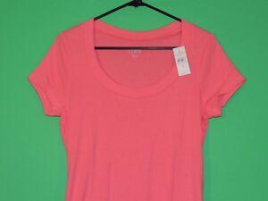 Ann Taylor LOFT Womens Size L Large Pink Short Slv Shirt / Top NEW