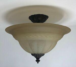 Classic Lighting 68119 EB SSG Yorkshire 3 Light Flush Mount In English Bronze