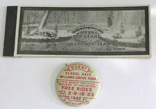 Vtg Williams Grove PA Amusement Park Christmas Ticket Book and Pin Back 1942
