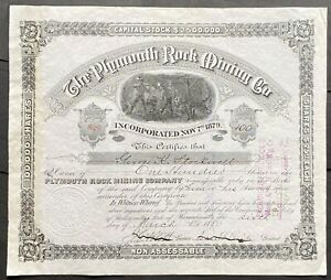PLYMOUTH ROCK MINING CO. Stock 1880. MA. Silver City, New Mexico. M&NMC MC. VF++
