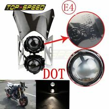 E-marked Dual Twin Streetfighter Head Lamp Headlights Faring Projector Universal