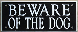 "ACRYLIC BEWARE OF THE DOG 5"" X 2"" SIGN IN BLACK WITH WHITE PRINT"