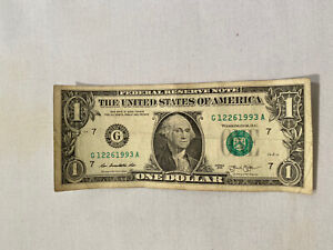 Fancy Serial number 1 dollar bill Rare Note Special /Birthday Date 12/26/1993