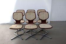 6 Stühle Esszimmerstühle Drehstuhl Teak Optik Chrom Küchenstuhl Space-Age 70er