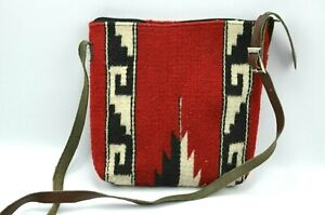 "Vintage Wool Crossbody BOHO Messenger Bag Aztec Southwestern Print 10"""