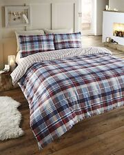 Winter Warm 100 Brushed Cotton Flannelette Duvet Cover Bedding Sets 15 Designs Angus Navy Single