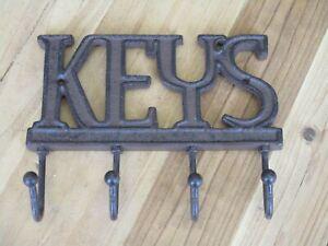 CAST IRON KEYS HOOK KEY SIGN PLAQUE ORNATE RUSTIC ORNAMENTAL BROWN ENTRY WAY