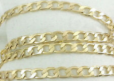 """Real 14k Gold Filled Thin Flat Hammered Cuban Link Chain Necklace 24"""" 6mm Stamp"""