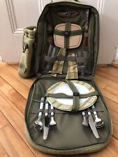 Picnic Backpack & Cooler w/17 Pieces for 2 People