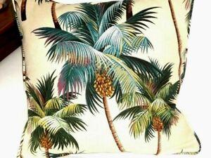 "18"" Hawaiian Tropical Cotton Barkcloth Fabric CORDED PILLOW ~Palm Trees~"